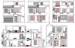 Three flooring one family bungalow elevation and sectional view details dwg file