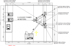 Three legged 48 meter range electric tower details dwg file