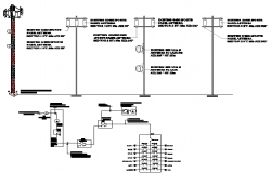 Three legged electric tower installation details dwg file