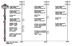 Three legged tower installation details with leg details dwg file