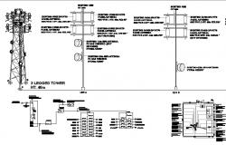 Three legged tower installation with cabin details dwg file