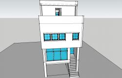 Three level house building 3d model cad drawing details skp file