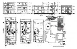 Three level house elevation, section and electrical layout plan of all floors cad drawing details dwg file