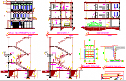Three level house full architecture project dwg file