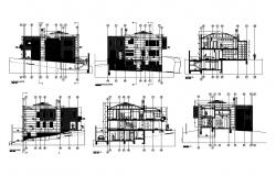 Three level luxuries bungalow all sided elevation and sectional details dwg file