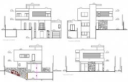 Three level modern house elevation and section details dwg file