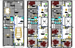 Three level multi-family building floor plan details dwg file