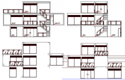 Three level single family house sectional details dwg file