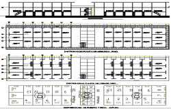 Three position sheets with section of industrial plant dwg file