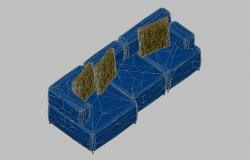 Three seated sofa set 3d block cad drawing details dwg file