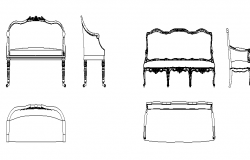 Three seater traditional sofa details