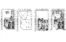 Three star hotel all floors electrical layout plan details dwg file