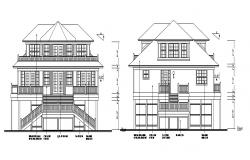 Three story classic house front and rear elevation dwg file