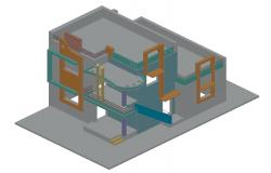 Three-story dynamic bungalow 3d drawing details dwg file