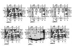 Three story hostel building floor plan details dwg file