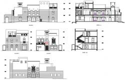 Three story luxuries bungalow all sided elevation and cut section details dwg file