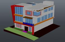 Three story red house design 3d model cad drawing details dwg file