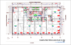 Three to thirteen typical floor plan for office dwg file