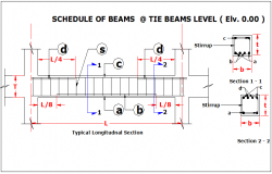 Tie beam section plan detail dwg file