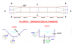 Tiered gradas plant plan and section autocad file