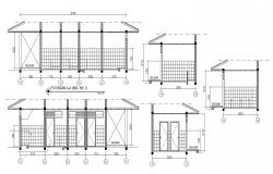 Toilet Four Side Wall Elevation With Working Drawing AutoCAD File Free Download