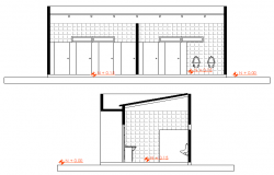 Toilet elevation detail dwg file