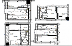 Toilet installation details of single family house project dwg file
