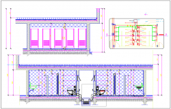 Toilet of office building plan view and elevation view detail dwg file