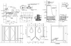 Toilet plan, elevation and section detail dwg file