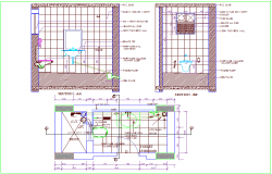 Toilet plan and sectional view dwg file