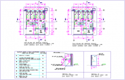 Toilet plan with detail of first and second floor plan of office dwg file