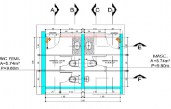 Toilet planning detail dwg file