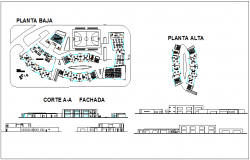 Top floor and low level plan and section view of primary school dwg file