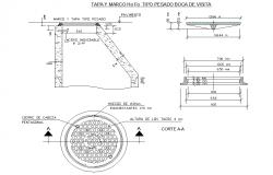 Top frame type heavy manhole layout file
