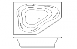 Top view bath tub design dwg file