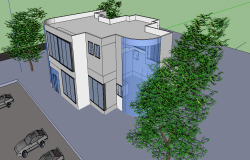 Top view elevation plan of a building dwg file