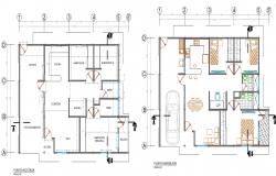 Top view furniture layout plan