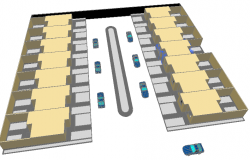 Top view layout plan of car show lane dwg file
