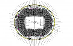 Top view layout plan of stadium