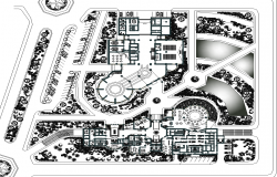 Top view of Hotel layout dwg file