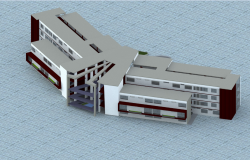 Top view of University residence elevation dwg file