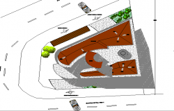 Top view of site plan details of residential housing building dwg file