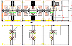 Tourist hotel with roof architecture layout details dwg file