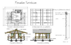 Tourist roof house elevation, section, plan and cover plan details dwg file