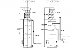 Tower gas washer with two options details dwg file