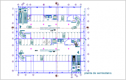 Tower semi basement plan with architectural view dwg file