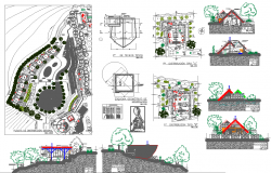 Town Plan Elevation Design dwg file