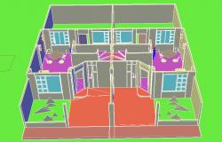 Town house 3 D plan detail