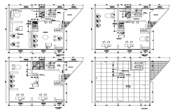 Trade center office building detail 2d view layout plan