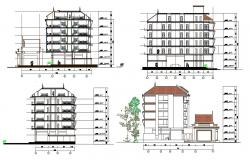 Traditional Elevation And Section Of Apartment Building Design AutoCAD File